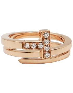 Tiffany Unique Model Tiffany T Rose Gold Square Wrap Ring Womens Diamonds Jewellery Replica