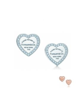 Phony Return To Tiffany Heart Earrings Sterling Silver Diamonds Latest Design Sale Jewelry