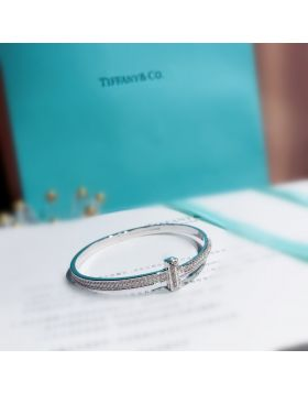 Luxury Tiffany Tiffany T1 Paved Diamonds Wide Hinged Bangle Women Fashion Bracelet Silver/Yellow Gold/Rose Gold