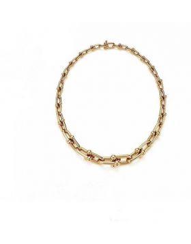 High Quality Tiffany Hardwear 18K Yellow Gold Graduated Link Necklace Women Jewellery