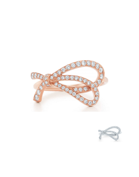 Tiffany Bow Ring Rose Gold & Silver Newest Design Diamonds Birthday Gift GRP08657/GRP08656