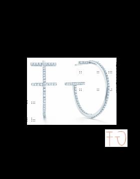 Tiffany T Wire Hoop Earrings Replica Sterling Silver Diamonds Friends Gifts Jewelry