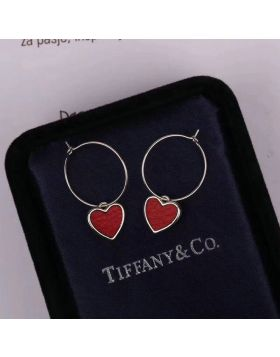 Tiffany Drop Earrings Loving Heart Charm Red Leather Double-sided Wear UK Sale Online Lady