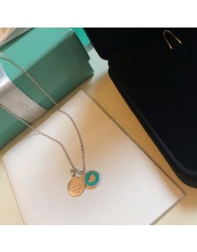 Tiffany Return to Tiffany Blue Enamel Heart Shape Ladies 925 Silver Double Round Pendant Necklace Sale Online 36517204