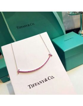 2018 Latest Tiffany Tiffany T Pink Swarovski Diamonds Double T Smile Pendant Womens Large Necklace Replica 60698090