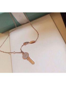 Hot Selling Tiffany Tiffany Keys Paved-diamonds Round Key Pendant Female Mordern Keys Necklace Rose God/ Silver GRP10437/GRP10441
