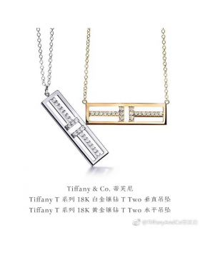 Hot Selling Tiffany T Two Open Horizontal Bar Pendant Female Diamonds Necklace Rose Gold/ Yellow Gold / Silver 60991359