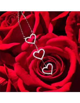 Tiffany Three Interlocking Hearts Pendant Necklace Women Jewelry For Sale Valentine Gift