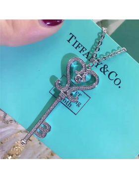 Tiffany Keys Heart-shaped Key Paved Crystals Pendant Necklace On Sale Women Birthday Gift