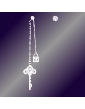 Tiffany Keys Enchant Tassel Asymmetrical Drop Earrings Copy Paved Crystals Key & Lock Pendant Lady Australia