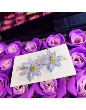 Tiffany Floral-shaped Earrings Yellow & White Crystals Fashion Design New York Best Review For Women