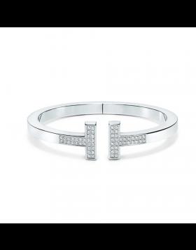 Tiffany Replica T Square Bangle Sterling Silver Diamonds Classic Design Jewelry GRP09083