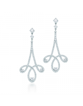 Tiffany Enchant Copy Scroll Earrings Diamonds 925 Sterling Silver Romantic Jewelry Sale 28910126