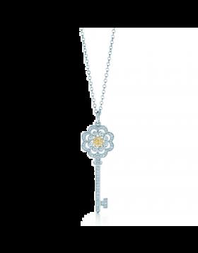 Tiffany Keys Rose Key Pendant Necklace Diamonds Sterling Silver Girls LA Sale GRP07683