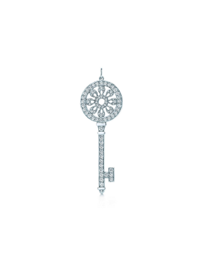 Tiffany Keys Petals Key Pendant Sterling Silver Necklace Diamonds Jewelry Promotion Gift GRP02643