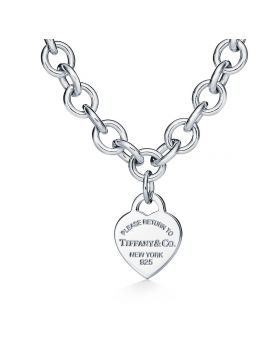 New Tiffany Return To Tiffany Single Heart Pendant Thick Link 50CM Fake Necklace For Ladies Silver/Rose Gold/Yellow Gold