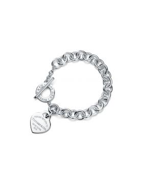 Tiffany Return To Classic New York Heart Pendant Thick Link Bracelet Silver/Yellow Gold/Rose Gold For Ladies