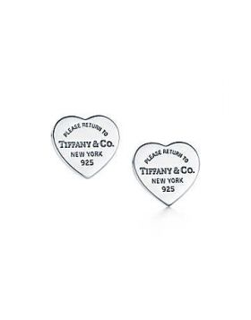 Tiffany & Co Timeless Style Return To Sterling Silver Mini Heart New York Womens Tag Earrings  For Sale Online