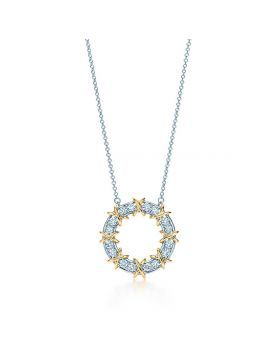 Tiffany Dupe Schlumberger Circle Pendant Crystals Sterling Silver Necklace Women Gold-plated X Decorations UK Price 23926253