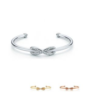 Tiffany Infinity Cuff Bracelet Women 925 Sterling Silver Endless Love Symbol Gemstones Bangle GRP08682/GRP08681/GRP08626