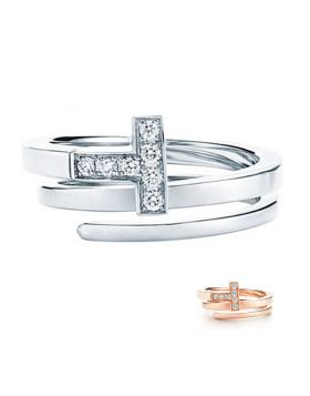 Tiffany T Sterling Silver Wrap Ring Round Diamonds Promotion Gift Fashion Jewelry GRP08870