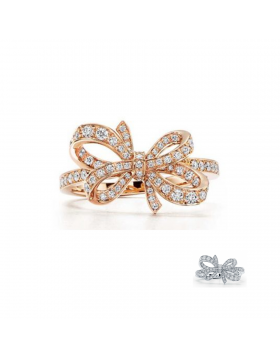 Tiffany Bow Copy Ribbon Ring Sterling Silver Diamonds Girls Gifts Top Seller GRP09381/GRP09291