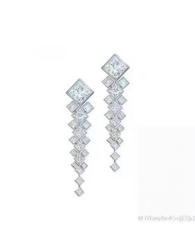 Tiffany Drop Earrings 925 Silver Square Crystals Online Store Canada Girls Celebrity Style Fashion Party