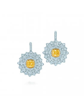 Tiffany & Co. Schlumberger Daisy Drop Earrings Yellow And White Diamonds USA Sale 30828364