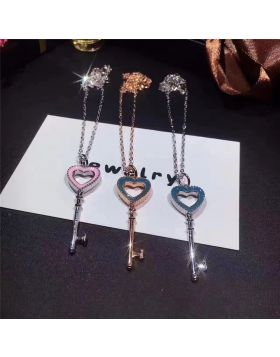 Tiffany Keys Edge Studded Blue/Pink Enamel Heart Key Pendant Necklace Romantic Style Girls Gift
