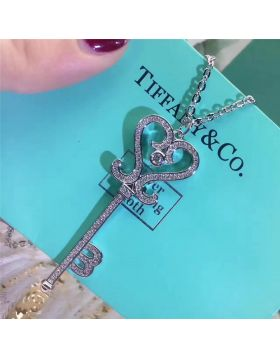 Tiffany Keys Heart-shaped Key Paved Crystals Pendant Necklace On Sale Women Birthday Gift