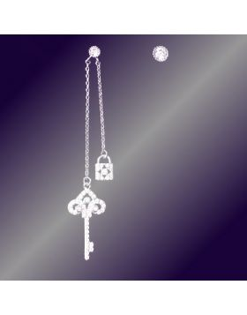 Tiffany Keys Enchant Tassel Asymmetrical Drop Earrings Copy Paved Crystals Key & Lock Pendant Lady Australia