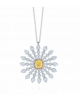 Tiffany Enchant Yellow Diamonds Replica Sunburst Pendant With White Crystals Necklace Women Jewelry Gift