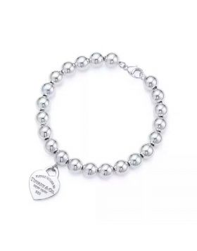 Return To Tiffany Copy Bead Bracelet Classic Sterling Silver Heart Pendant Birthday Gift D.C. GRP08671