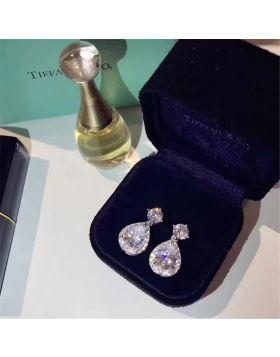 Tiffany Gorgeous Pear-shaped Crystals Dupe Drop Earrings Newest Design Birthday Gift For Women USA