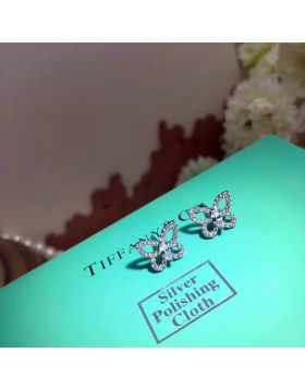 Tiffany Dupe Butterfly Ear-stud With Crystals Sweet Pretty Jewelry Online Store USA