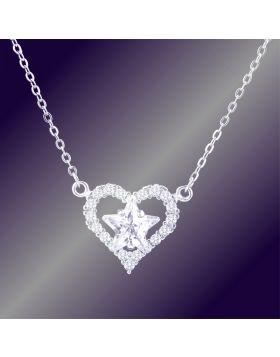 Tiffany Necklace Heart & Star Gemstones Pendant Elegant Style For Women Street Fashion USA Online