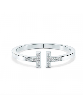 Tiffany Replica T Square Bangle Sterling Silver Diamonds Classic Design Jewelry GRP09083