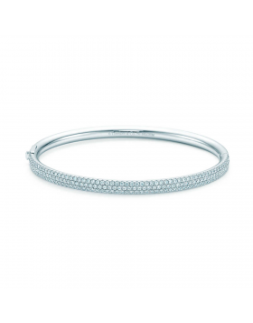 Tiffany Metro Three-row Hinged Bangle Sterling Silver Diamonds Jewelry D.C. Sale