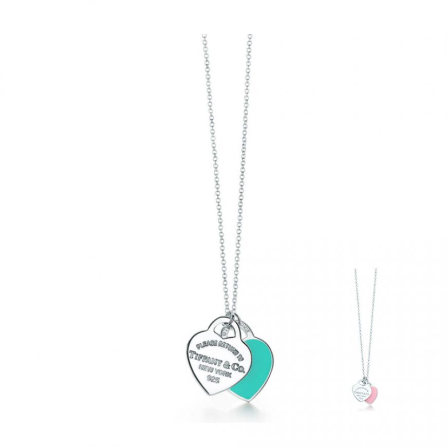 Return To Tiffany Blue Silver Mini Double Heart Tag Pendant Necklace Classic Jewelry Grp06366 28751249